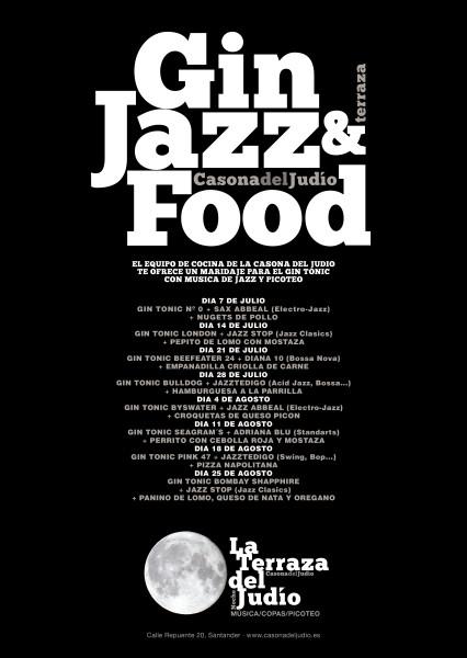 CARTEL GIN JAZZ FOOD CASONA DEL JUDIO TERRAZA